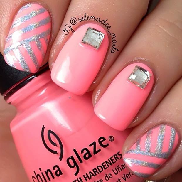 6 Neon Pink and Silver Nails