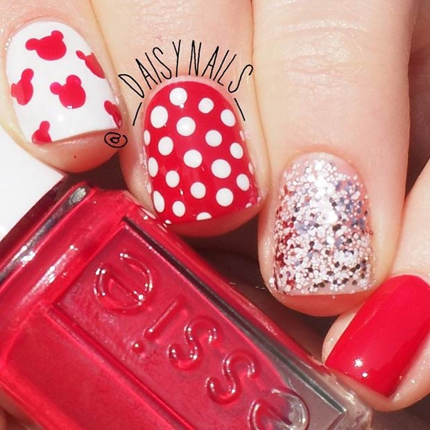 6 Red and White Nail Design