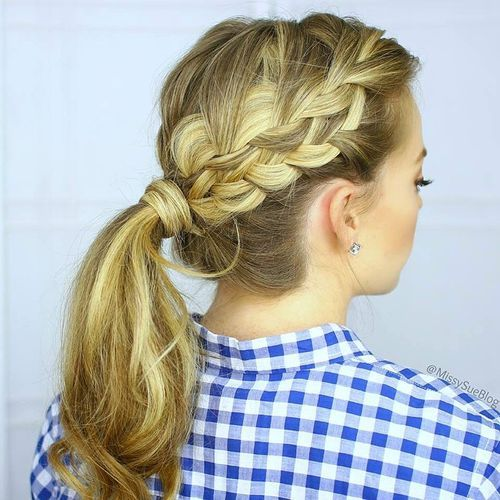 6 ponytail with a side braid