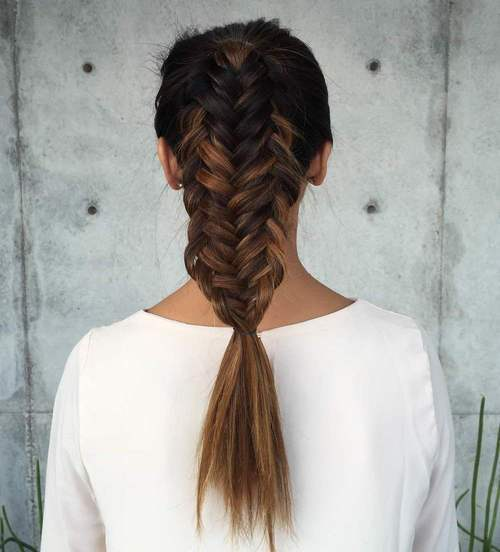 6 twisted edge fishtail braid hairstyle for long hair