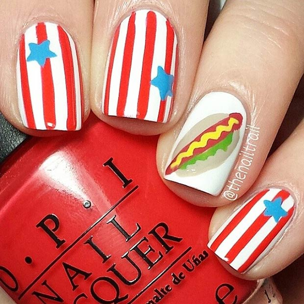 7 American Hot Dog Accent Nail