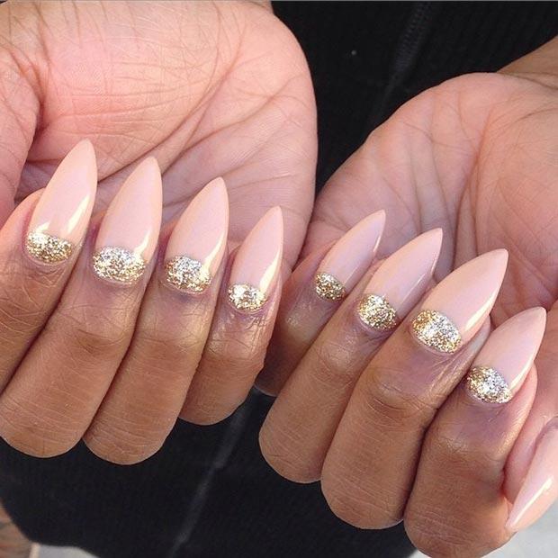 7 Half-Moon Stiletto Nails