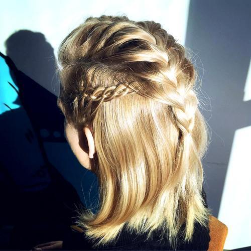 7 half up braided hairstyle for shorter hair