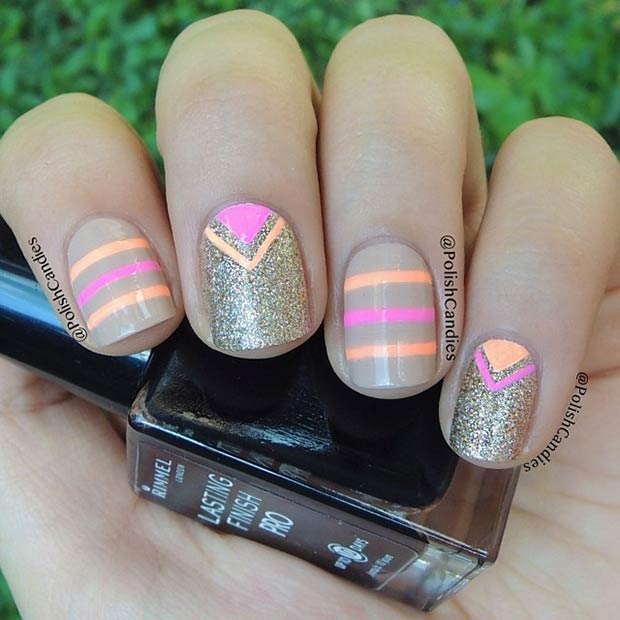 8 Neon Stripes and Triangles Nails