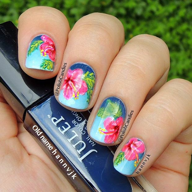 8 Tropical Flowers Nails