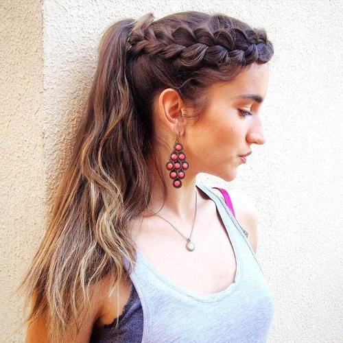 8 lacy crown braid and ponytail hairstyle