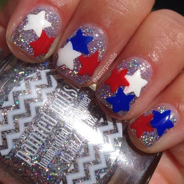 9 Cute Stars & Glitter Nail Design