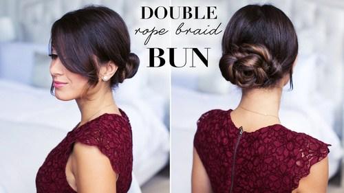 9 double rope braid bun