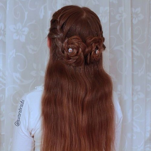 9 half updo with braided flowers for long hair
