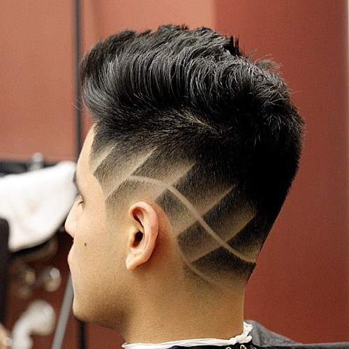9 tapered haircut with shaved designs