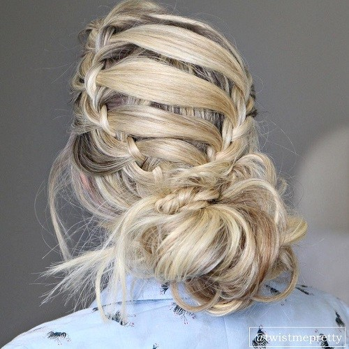 1 low messy bun with crown braid