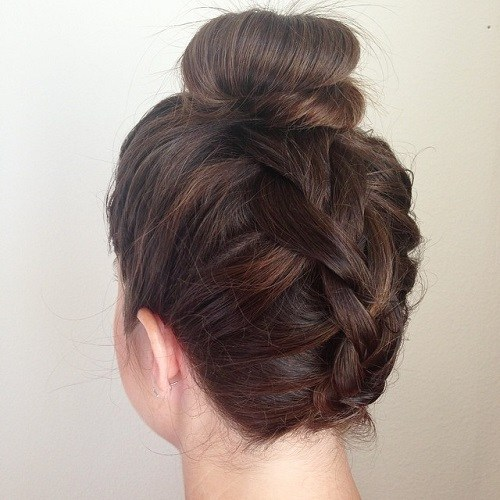 10 upside down braid and bun updo