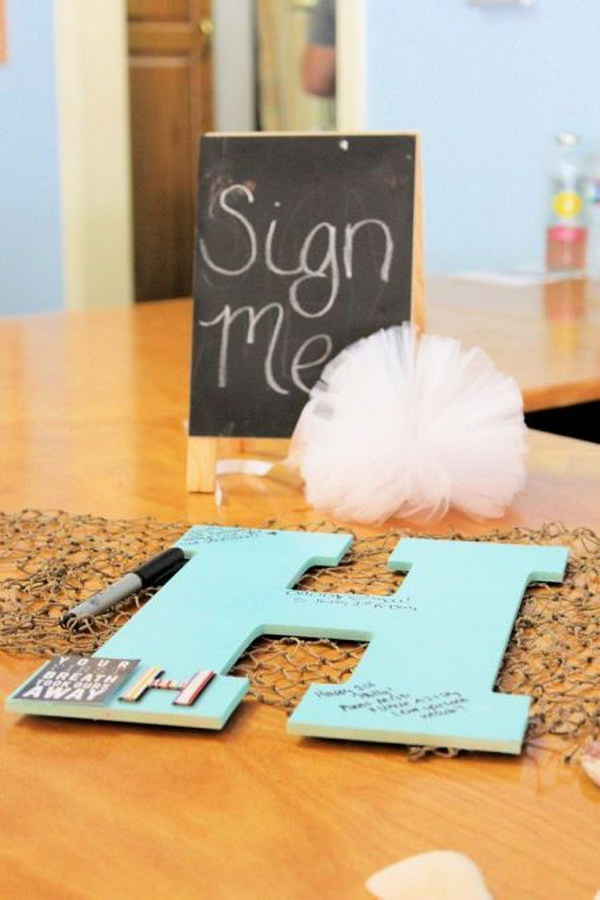 11 Baby's Wooden Initial Guest Book