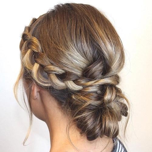 11 side braid and low bun