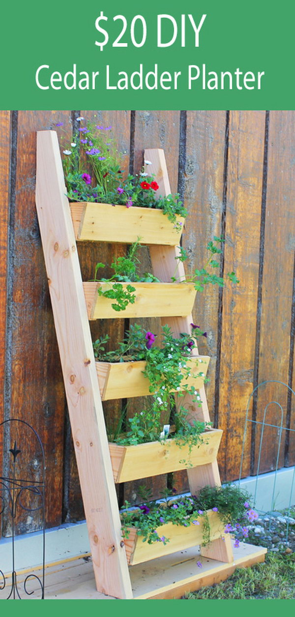 12 DIY Cedar Ladder Planter