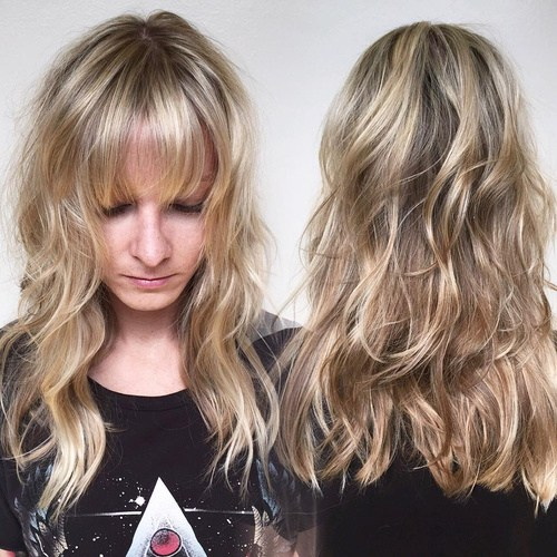 12 layered blonde hairstyle with bangs
