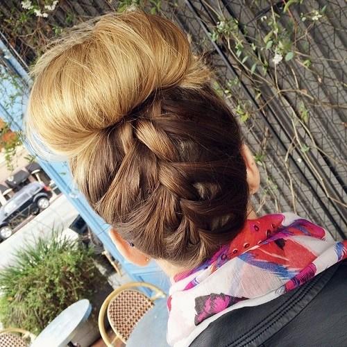 12 upside down braid and top bun