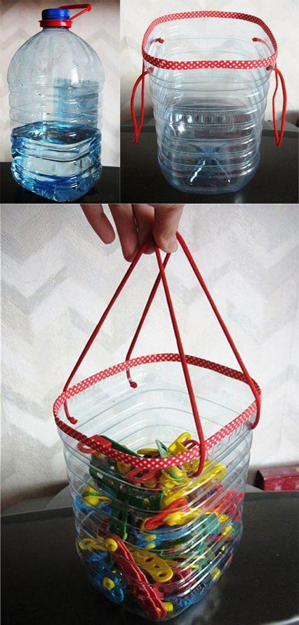 13 DIY Plastic Bottle Toy Basket
