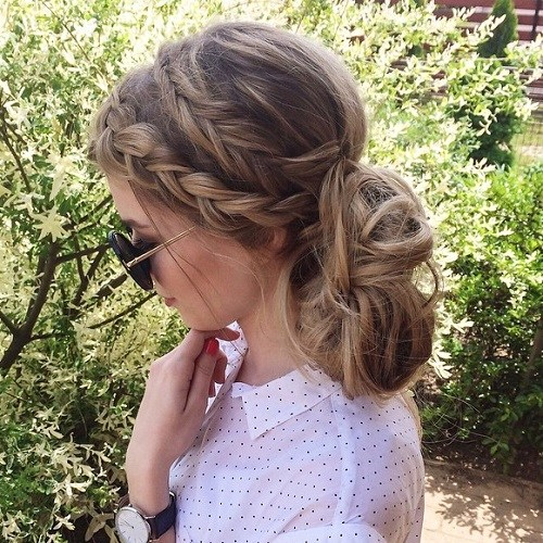 13 two braids and low messy bun