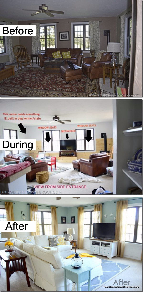 14 Coastal Cottage Family Room Before and After