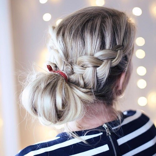 14 waterfall braid and side knot