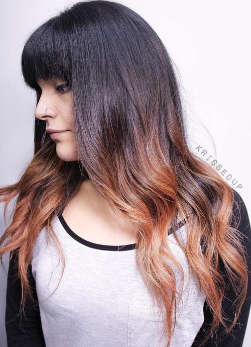 15 long dark brown hairstyle with bangs and ombre