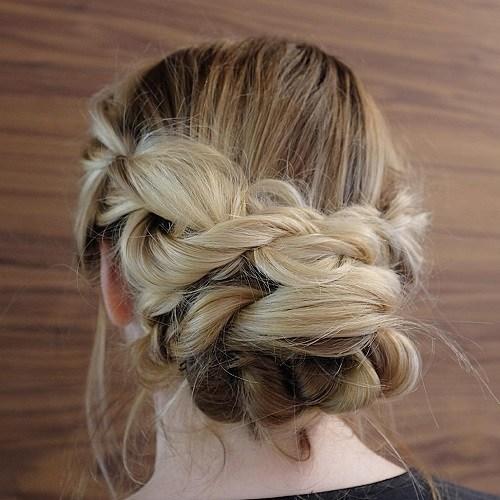 16 messy braid and bun updo
