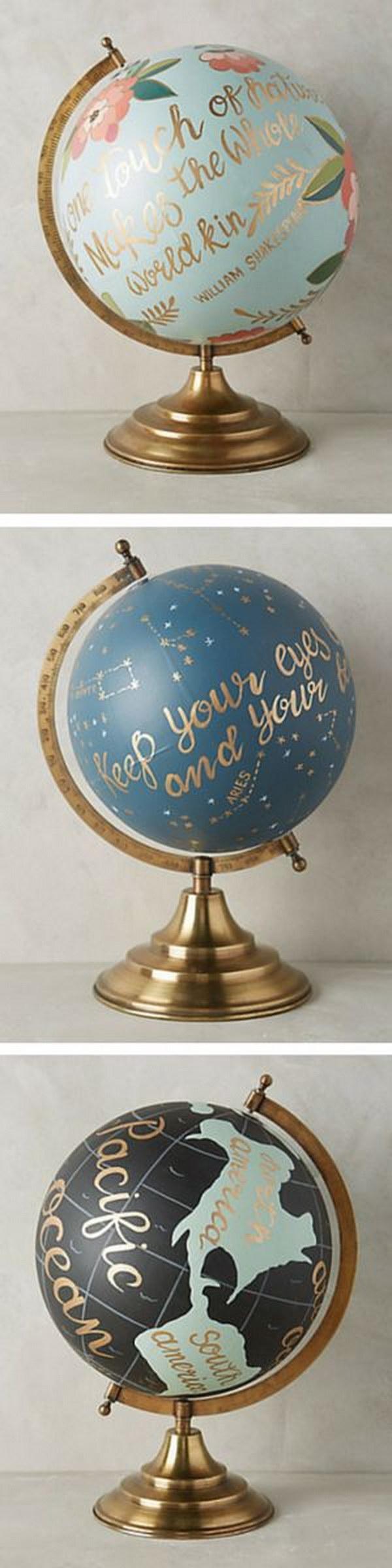 18 Handpainted Wanderlust Globe