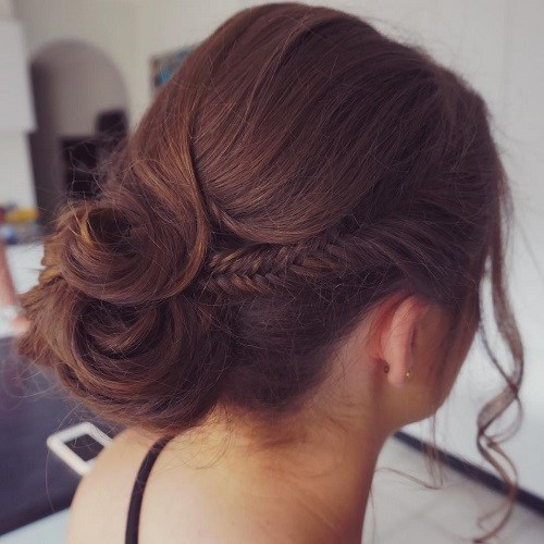 19 side fishtail and low bun updo