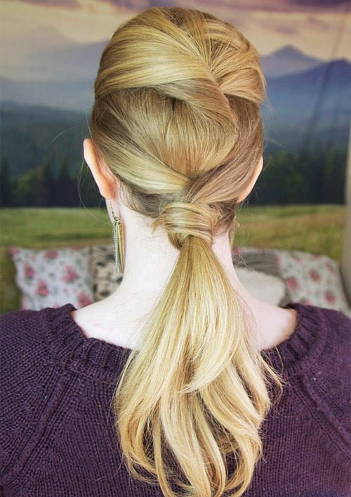 19 twisted low ponytail