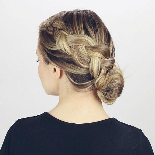 2 diagonal braid and side bun