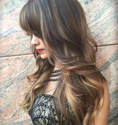 2 long layered dark brown hair with highlights