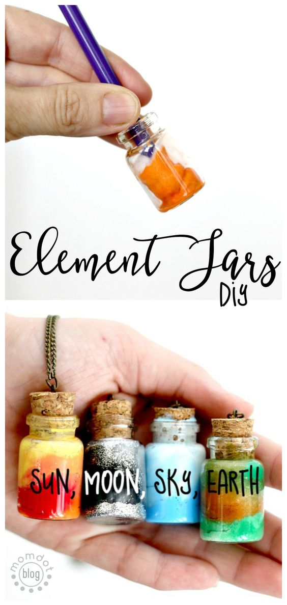 22 Create Sun, Moon, Earth, and Sky in these fun DIY Element Jar Necklaces