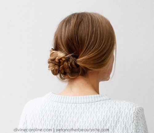 22 easy low knot braided updo