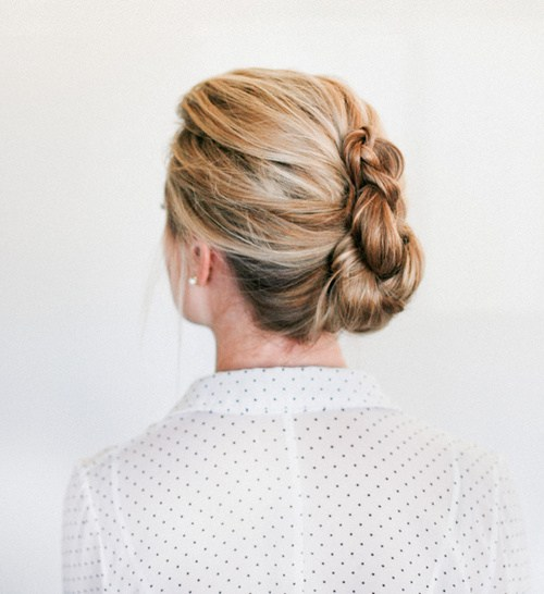 22 french braided twist updo