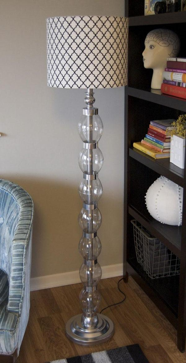 23 Dress up a boring standing lamp with plastic bottle accents