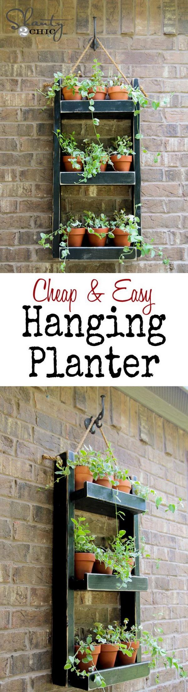 25 DIY Hanging Wood Planter