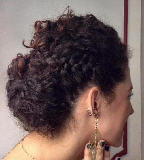 26 easy curly updo with a side braid
