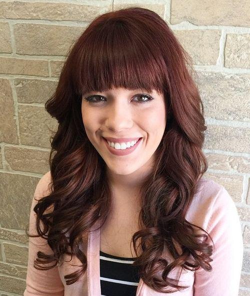 29 curly burgundy hair with bangs