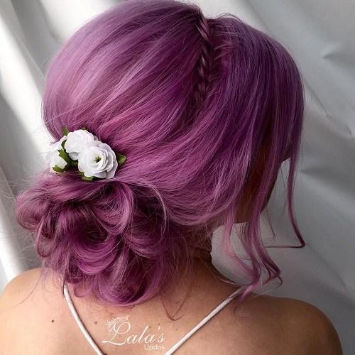 3 curly bun pastel purple updo
