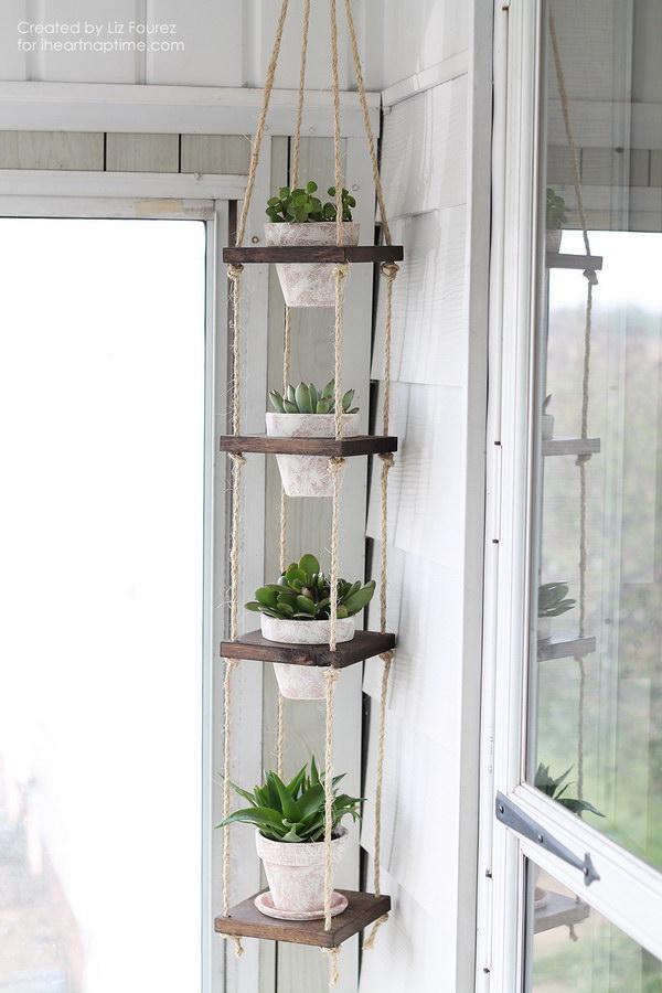 31 DIY Rustic Vertical Plant Hanger