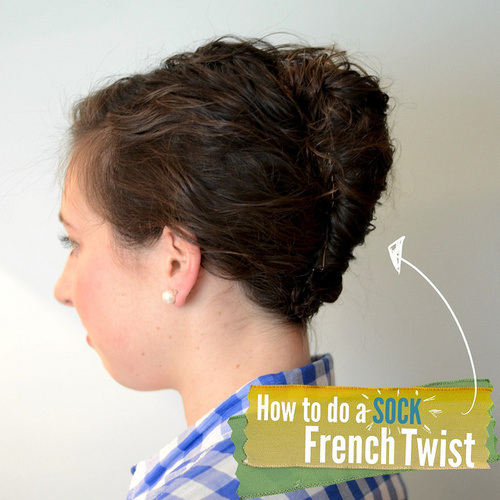 33 sock french twist with a wet hair effect