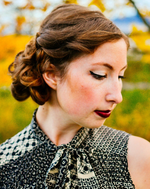 4 loopy side updo for curly hair