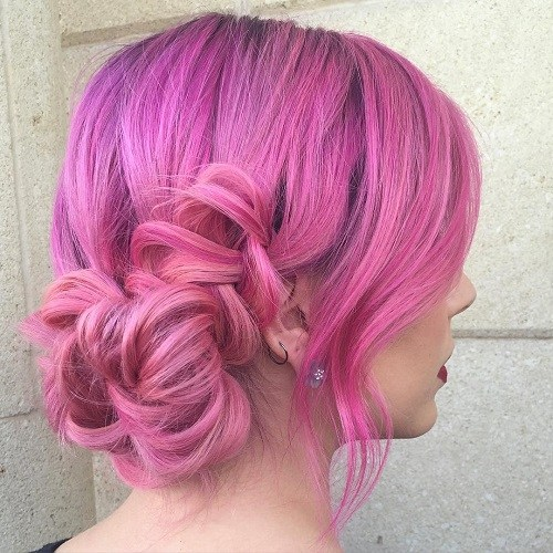 5 pastel pink curly updo