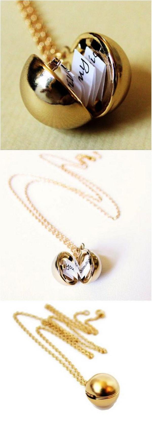 6 Secret Message Ball Locket Necklace