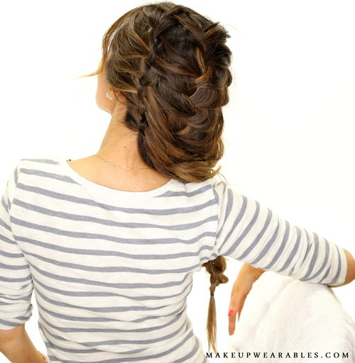 7 loose updo with waterfall braids