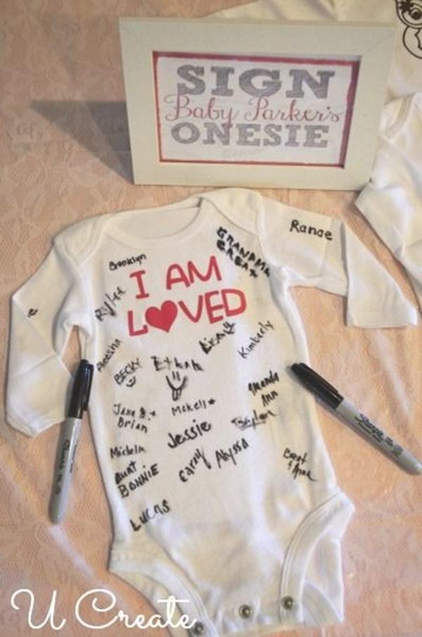 8 Baby Shower Onesie Sign In