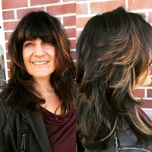 8 layered haircut with bangs for thick hair
