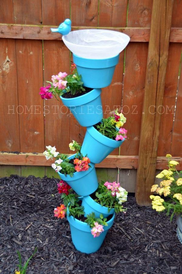 9 DIY Terra Cotta Pot Garden Planter and Bird Bath