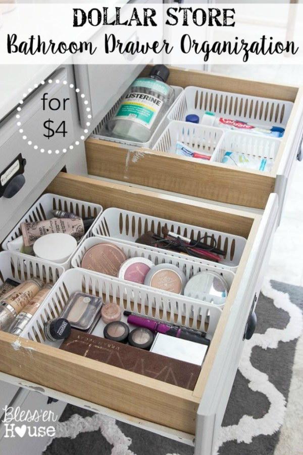 1 Bathroom Drawer Organization with Plastic Baskets